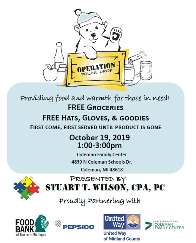 Operation Polar Drop - FREE Groceries FREE Hats, Gloves, & goodies @ Coleman Family Center | Coleman | Michigan | United States